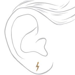 Gold Lightning Bolt Stud Earrings,