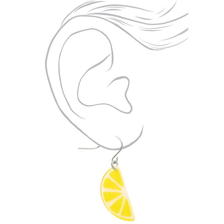 """Silver 1"""" Lemon Slice Drop Earrings - Yellow,"""