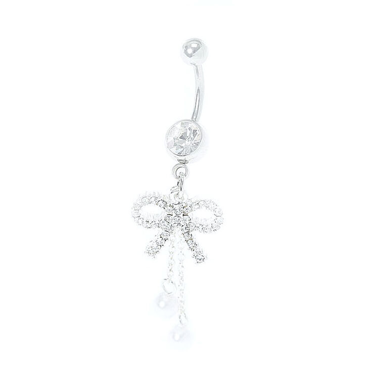 crystal bow belly ring claires us
