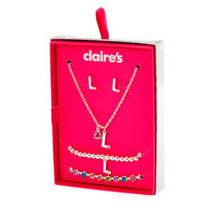 Go to Product: Silver Rainbow Initial Jewellery Gift Set - L, 4 Pack from Claires