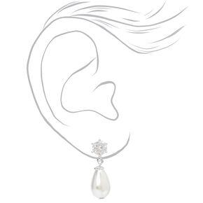 Pendantes en gouttes perles d'imitation et strass 1,5cm couleur argentée,