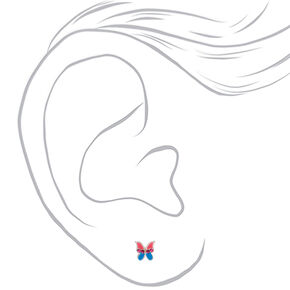 Clous d'oreille papillon rose et bleu couleur argenté,