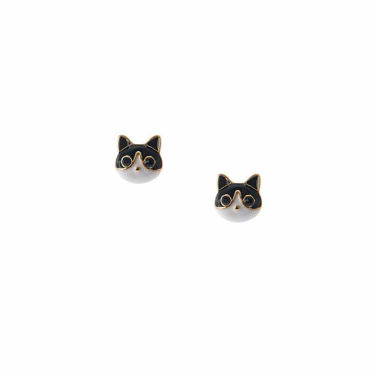 Clous d'oreilles chats noirs et blancs couleur dorée,