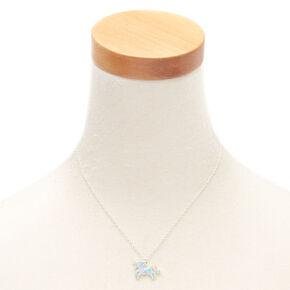 Glitter Pastel Unicorn Pendant Necklace - Turquoise,