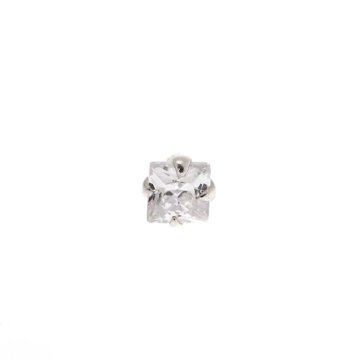 Silver 16G Stone Tragus Stud Earring,