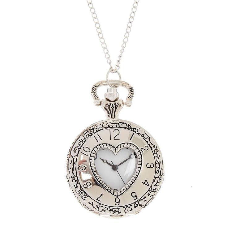 Silver tone endless heart pocket watch pendant necklace claires us silver tone endless heart pocket watch pendant necklace aloadofball Gallery