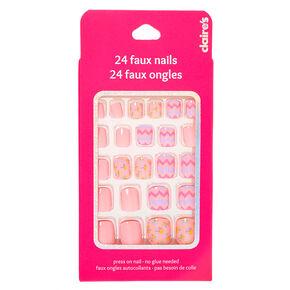 Faux ongles autocollants carrés imprimé floral et chevrons - Rose, lot de 24,