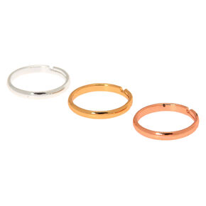 Mixed Metal Classic Band Toe Rings - 3 Pack,