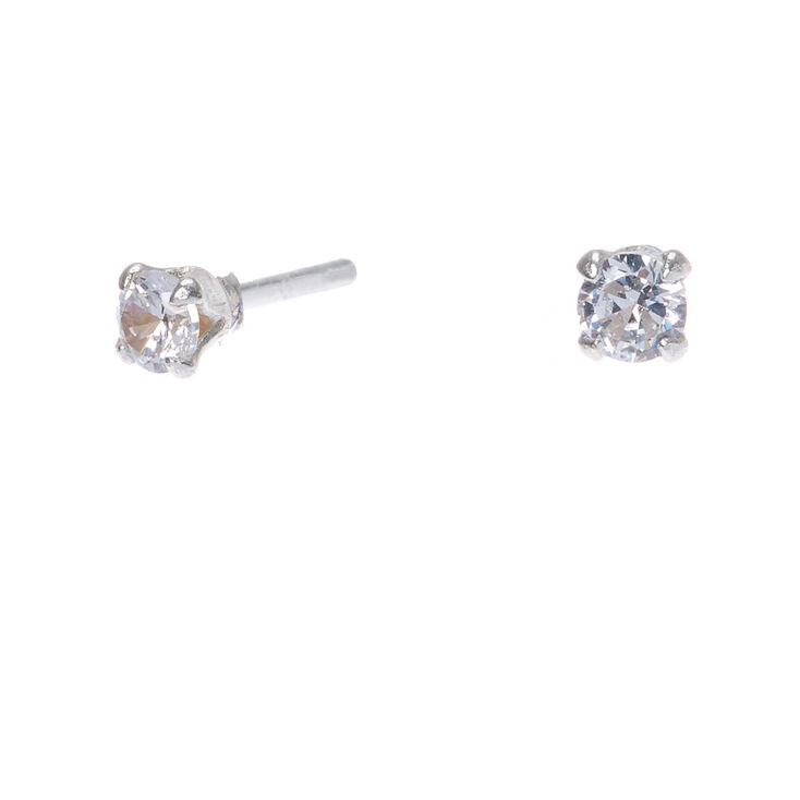 20409caec Sterling Silver Cubic Zirconia 3MM Round Stud Earrings | Claire's US