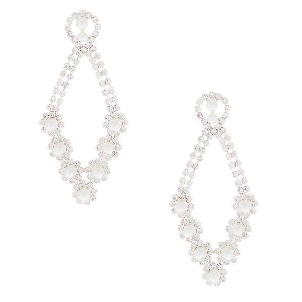 """Claire's - pearl 2.5"""" chandelier drop earrings - 1"""