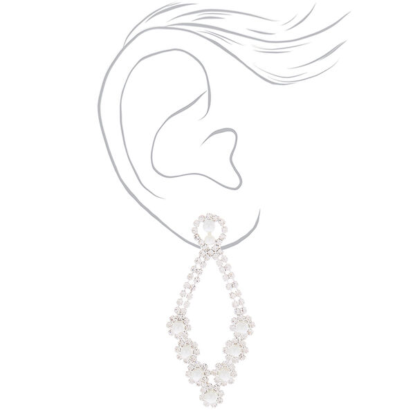 """Claire's - pearl 2.5"""" chandelier drop earrings - 2"""