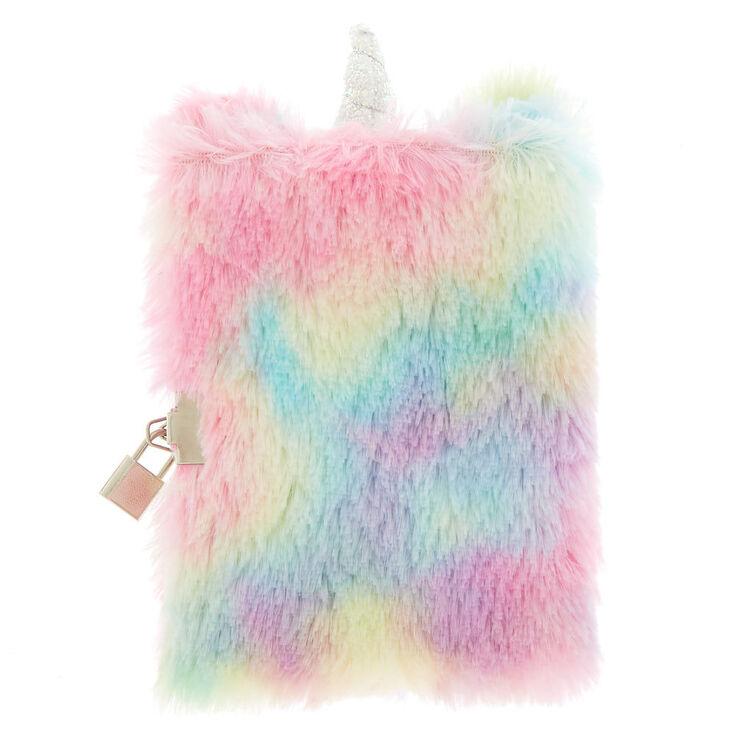 Pastel Rainbow Unicorn Plush Lock Diary,