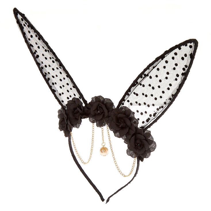 Serre-tête noir avec oreilles de lapin à motif floral à pois,