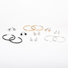 Mixed Metal 20MM Stud Crystal & Hoop Earrings - 9 Pack,