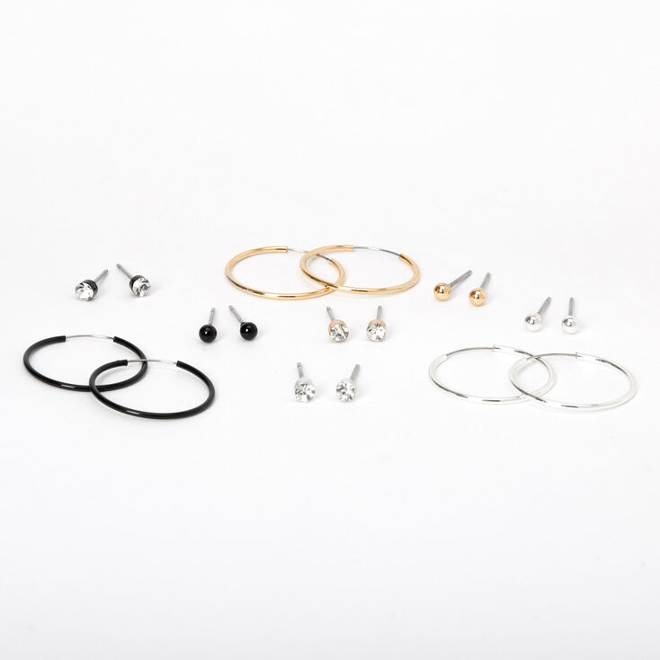 Mixed Metal 20MM Stud Crystal & Hoop Earrings - 9 Pack,