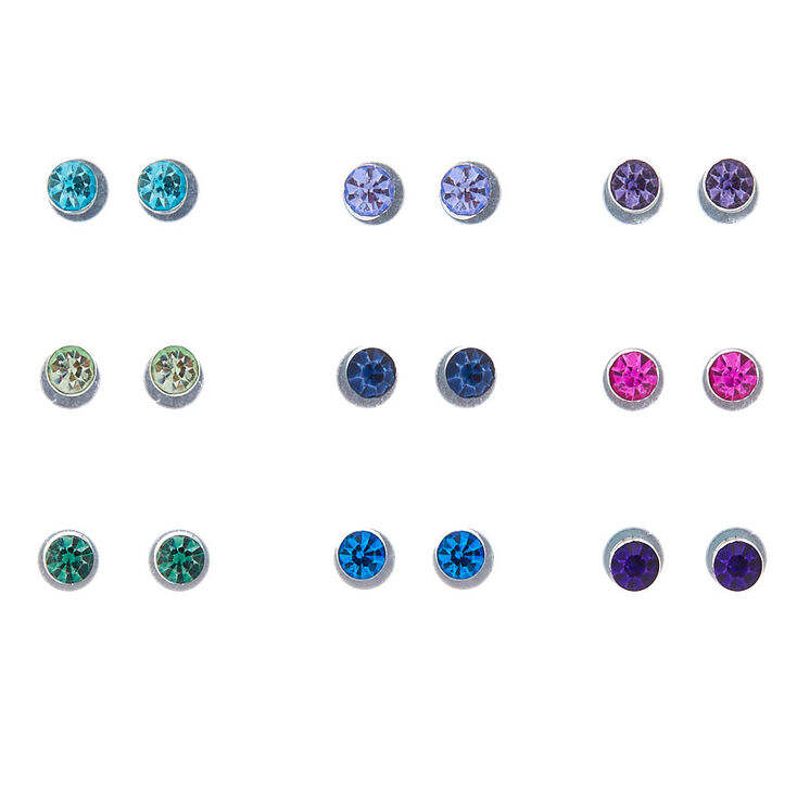 Rainbow Magnetic Stud Earrings - 9 Pack,