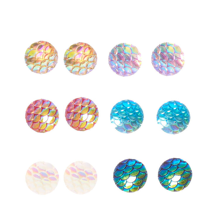 Iridescent Mermaid Scale Round Stud Earrings - 6 Pack,
