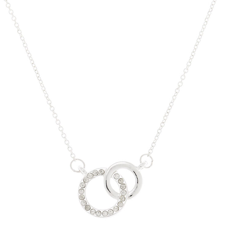 Silver Wedding Rings Pendant Necklace,