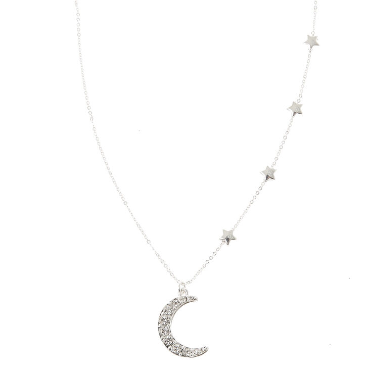 Silver Stars & Moon Pendant Necklace,