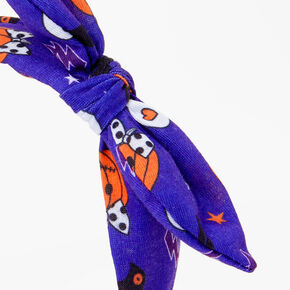 Halloween Print Knotted Bow Headband - Blue,
