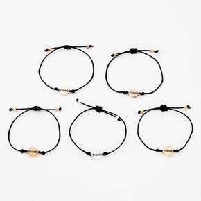 Mixed Metal Adjustable Friendship Bracelets - 5 Pack,