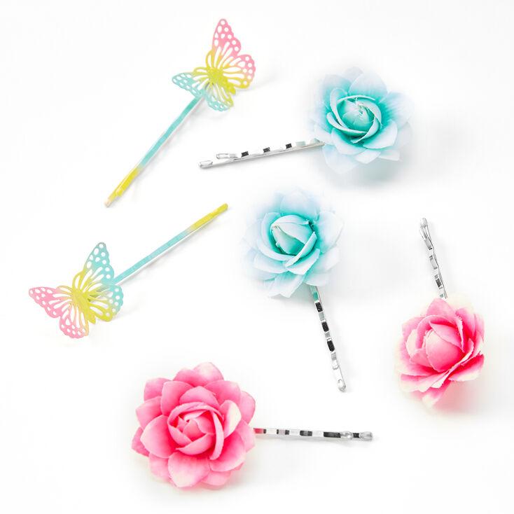 Butterflies & Flowers Hair Pins - 6 Pack,