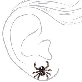 Halloween Faux Gemstone Spider Stud Earrings - Black,