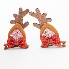 Glitter Reindeer Antler Hair Clips - Brown, 2 Pack,