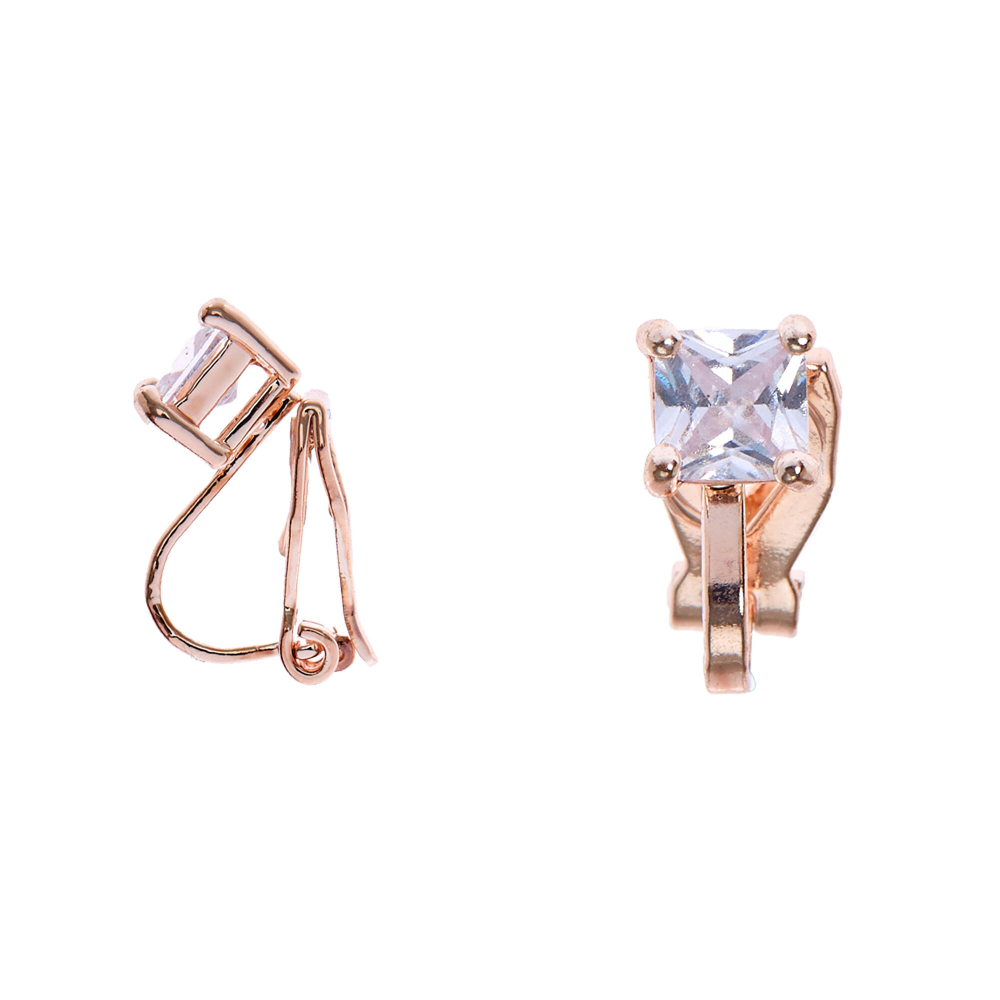 878fdb367 Rose Gold Cubic Zirconia 5MM Square Clip On Stud Earrings | Claire's US