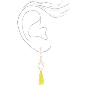 """Gold 1.5"""" Pineapple Tassel Drop Earrings - Yellow,"""
