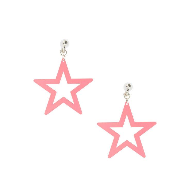 """Silver 1.5"""" Neon Star Clip On Drop Earrings - Pink,"""