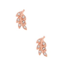 18kt Rose Gold Plated Crystal Leaf Stud Earrings,