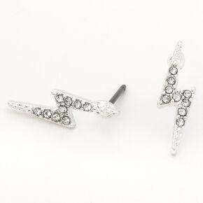 Silver Crystal Lightning Bolt Stud Earrings,