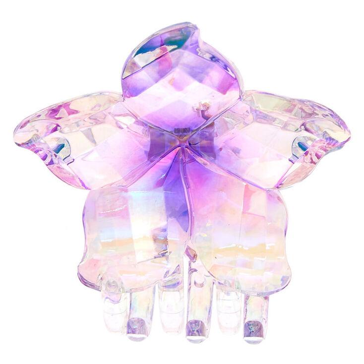 Clear Iridescent Flower Hair Claw - Purple,