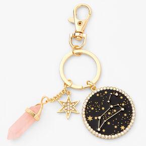 Porte-clés zodiaque avec cristaux de guérison (imitation) couleur dorée - Lion,