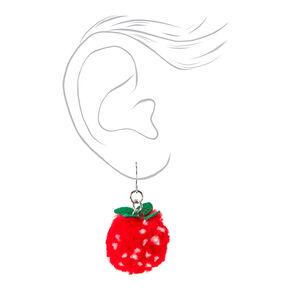 "1"" Strawberry Pom Pom Drop Earrings - Red,"