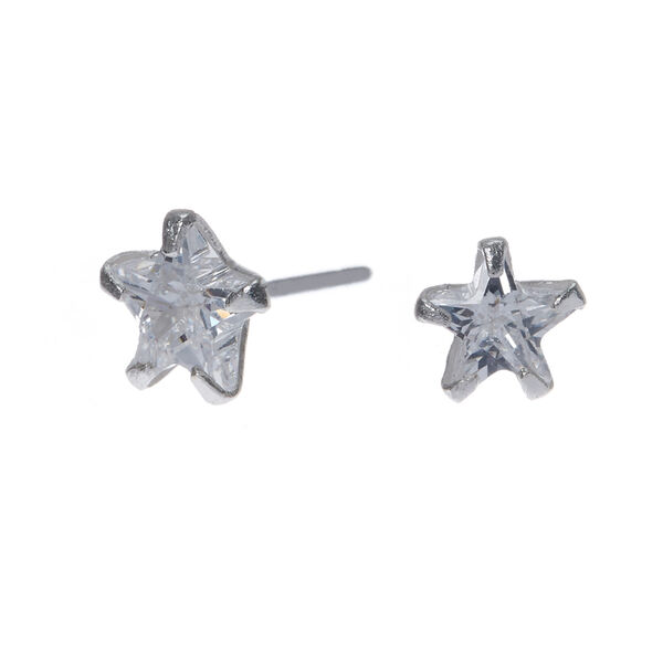 Claire's - sterling cubic zirconia 5mm star stud earrings - 1