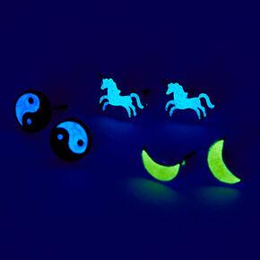 Glow In The Dark Motif Stud Earrings - 3 Pack,