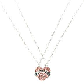 Pendant necklaces claires us best friends pink crystal split heart pendant necklaces aloadofball Choice Image