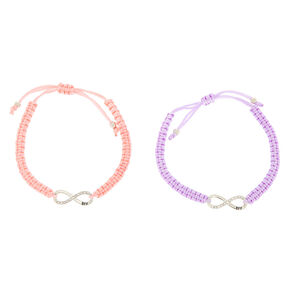 Pastel Infinity Adjustable Friendship Bracelets - 2 Pack,
