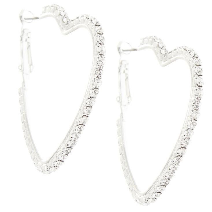 Silver Glass Rhinestone 45MM Heart Hoop Earrings,