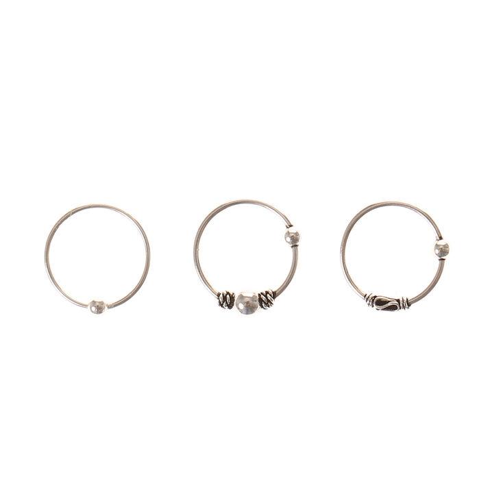 Lot de 3 anneaux cartilage Bali,