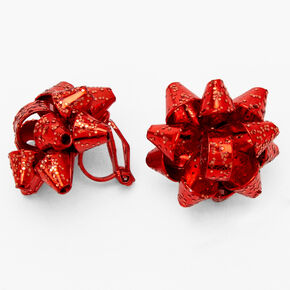 Red Bow Shaker Clip on Earrings,