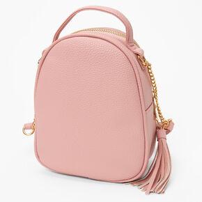 Pearl Studded Mini Backpack Crossbody Bag - Pink,
