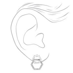 Silver Double Hexagon Stud Earrings,