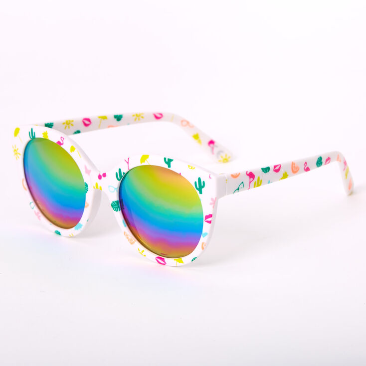 Summer Signature Print Rounded Mod Sunglasses - White,