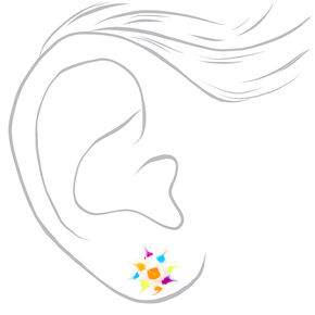 Sterling Silver Rainbow Rave Ball Stud Earrings - White,