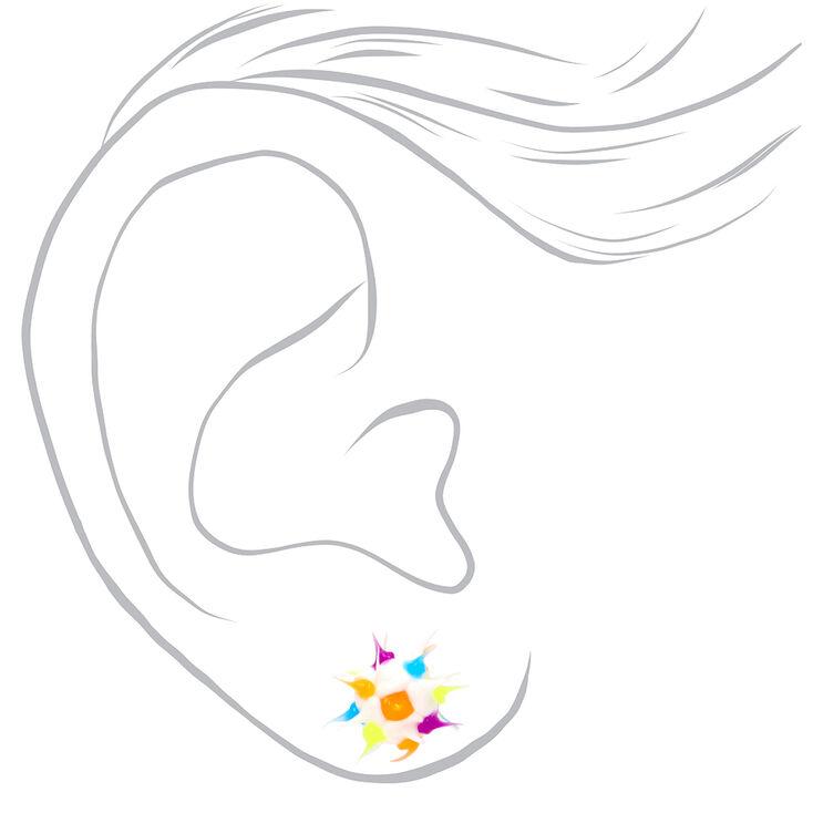 Sterling Silver Rainbow Rave Ball Stud Earrings - White,