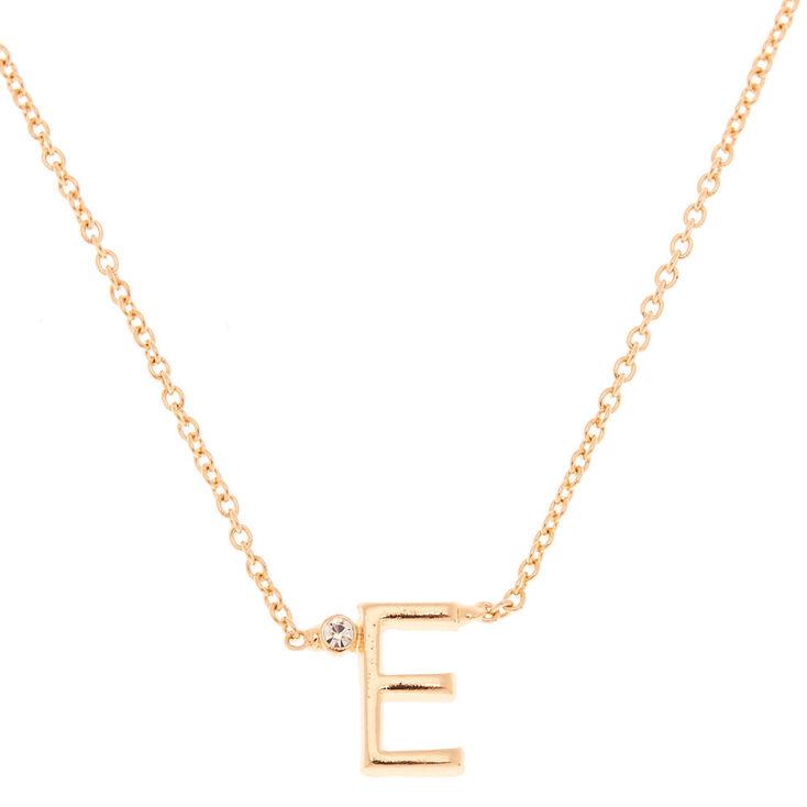 Collier à pendentif initiale avec strass couleur dorée - E,