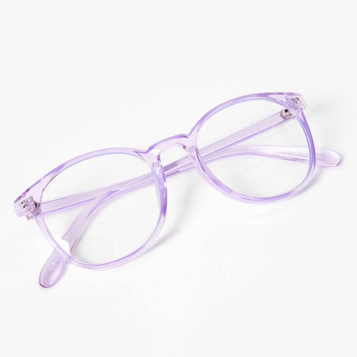 Solar Blue Light Reducing Round Clear Lens Frames - Violet,